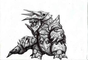 Realistic Pokemon Aggron by XantheUnwinArt