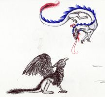 Doodle: Eastern Dragon and gryphon by Jetstream1118