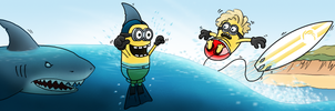 Minions in the surf by Flatlinefrog