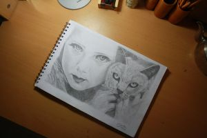 Girl with wild cat :)) by Sunlolo