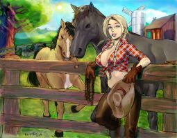Cowgirl Blonde Commission By Kandoken. by furryjibe