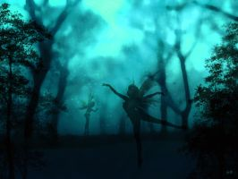 Enchanted Forest - Blue by Musicalpaintings