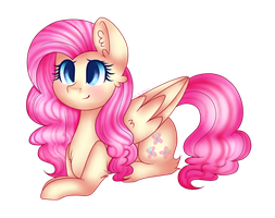 Fluttershy in Pinkie hair style by Cloudy-Risicpaint