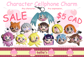 SALE!! Character Cellphone Charms - $5.00 CAD! by UniqueTreats