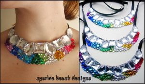 Rainbow Rhinestone Chokers by Natalie526