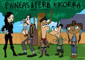Phineas and Ferb+Korra by likewoahjackie