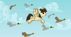 Wildfire flies with ducks by Vector-Brony