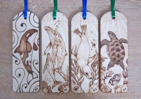 Sea life pyrography bookmarks by BlueMidna