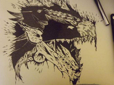 Rathalos Head Ink by Acethefirepunch