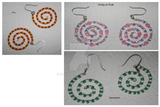 Glass Bead Spiral Earrings 02 by Sly-Foxx