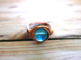 Copper Wire Wrapped Ring by lovebirdcreations