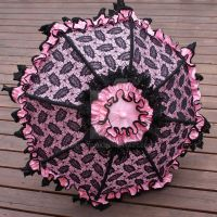 Pink and Black Lace Parasol by dbvictoria