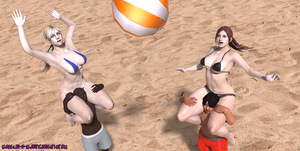 Volleyball party with Jill and Claire by Nabriales-D-Majestic