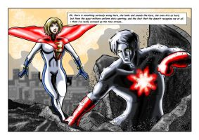 Captain Atom Vs Powergirl ( New 52 ) by adamantis