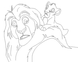 Mufasa and Simba base by IceNinjaMonkey