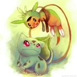 New Friends: Bulbasaur and Chespin by eldrige