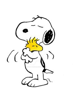 Snoopy and Woodstock Hug by RuthALawrence