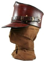 STEAMPUNK LEATHER SHAKO - brown leather by AmbassadorMann