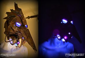 The Iron Beak LED TeslaPunk Plague Doctor helmet by TwoHornsUnited