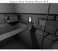 Space Ship Engine Room WIP 1 by Mallacore