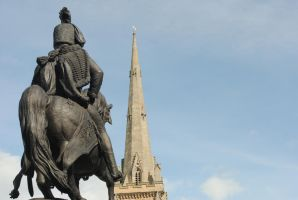 Statue and Church - Durham Market Place by alanhay