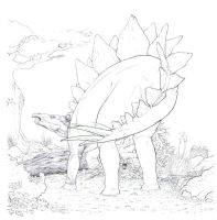 unfinished stegosaur by uialwen