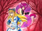 Alice and the Cheshire Cat by Kyro-Blade