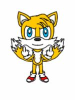 Tails giveing the middle finger  by Tails743