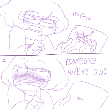 when someone walks in on you drawing something by cuttlewltch