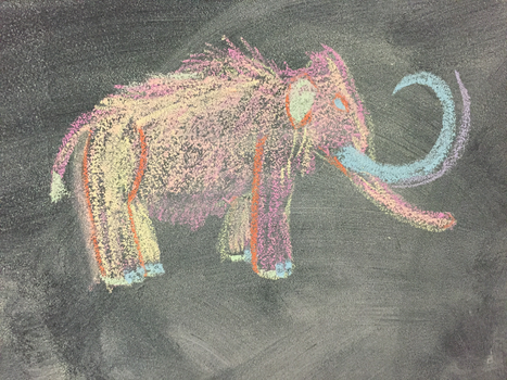 Chalk Drawing- Mammoth by Dinodavid8rb