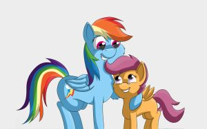 Scootaloo And Rainbow Dash by TheBatFang