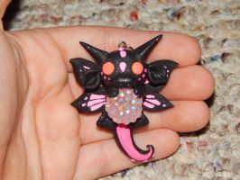 Black and Pink dragon with Butterfly Wings by XDtheBEASTXD
