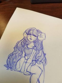 Ram girl pen doodle by Decapitated-Kittens