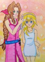 KH-FF7 : Aerith and Namine by dagga19 by dagga19