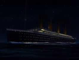 Titanic sailed at night by Danielpandu