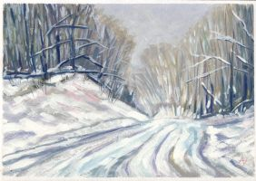 Winter Road Study by h-i-l-e-x