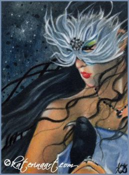 The Raven - ACEO by Katerina-Art