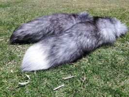 Blue Frost Fox Tails Side View 1 by MilkyFoxWhiskers