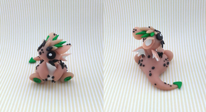 Spiky Beige Dragon (Green) by KriannaCrafts