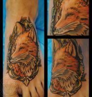 fox tattoo by RosaroterPanda