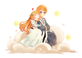 Chibi Ichigo x Orihime [Commission] + SpeedPaint by Marycat83