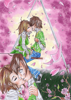 Kissing in the spring by Mangamania13