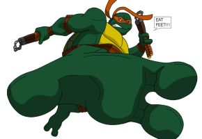 TMNT Michelangelo foot kick by KenJ91