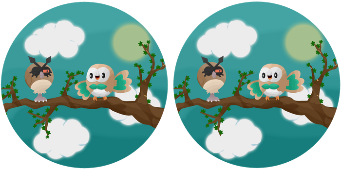 Spot the difference: Rowlet and Hoothoot by TheLittlelight
