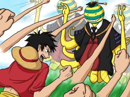 Luffy Vs Koro Sensei by Erk-kun