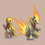 Charmander and Quilava by LilArrin