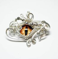 Wire Wrap Orange Glass Dragon Eye Pendant by Create-A-Pendant