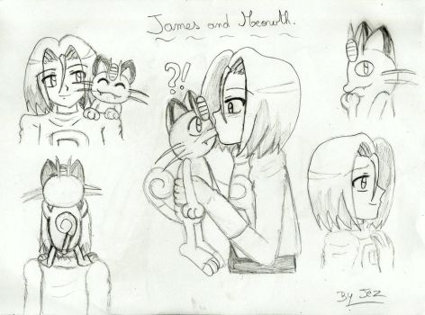 James and Meowth sketchs by Jezrocket