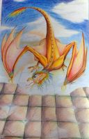 Old Drawing: Angry Orange Parrot Dragon by kanzeNatsume