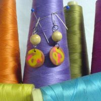 brown abstract earrings by strictlyhandmade
